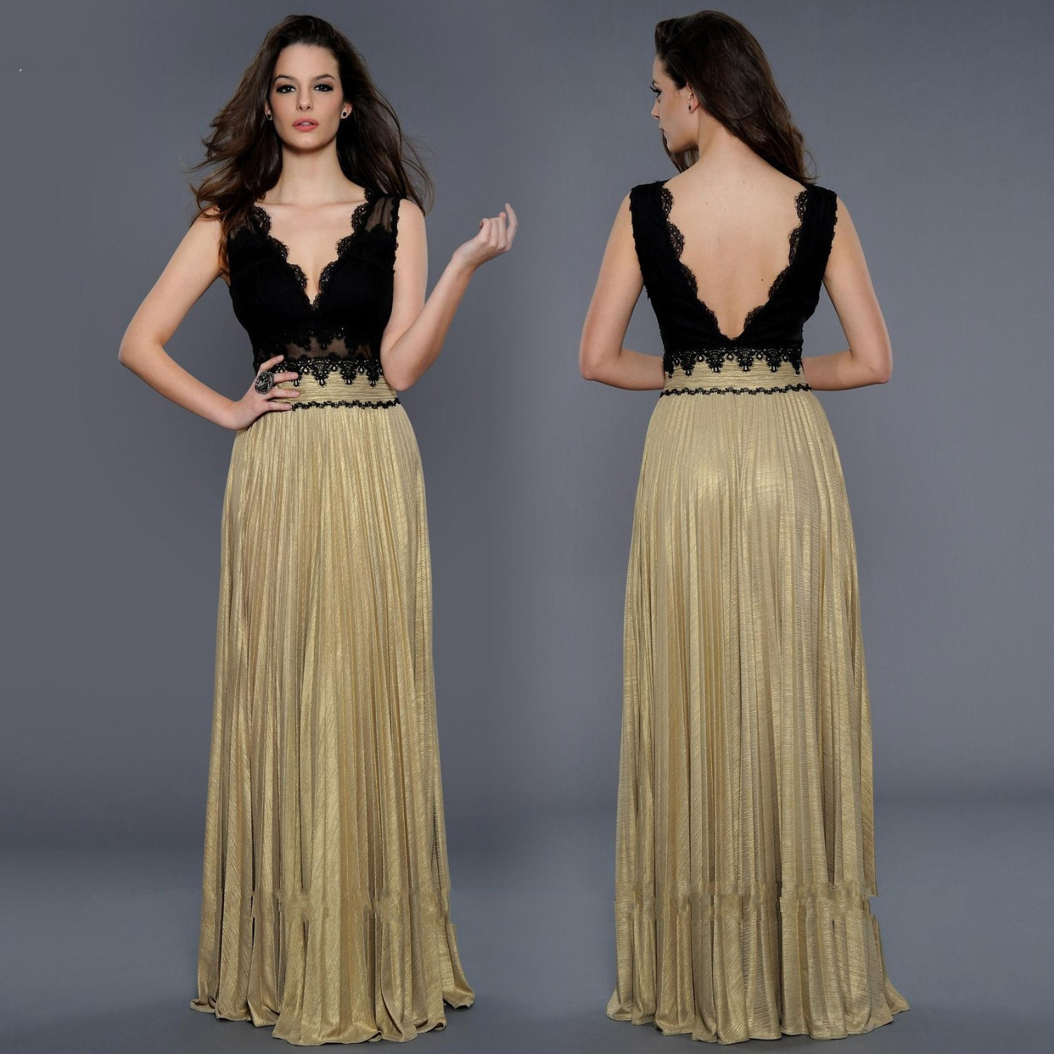 new design black and gold lace vneck backless long prom